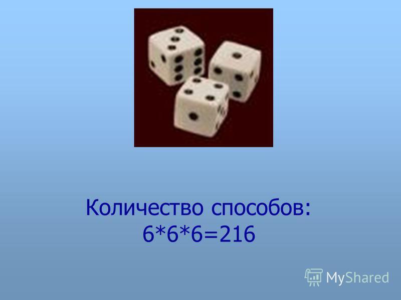 Количество способов: 6*6*6=216
