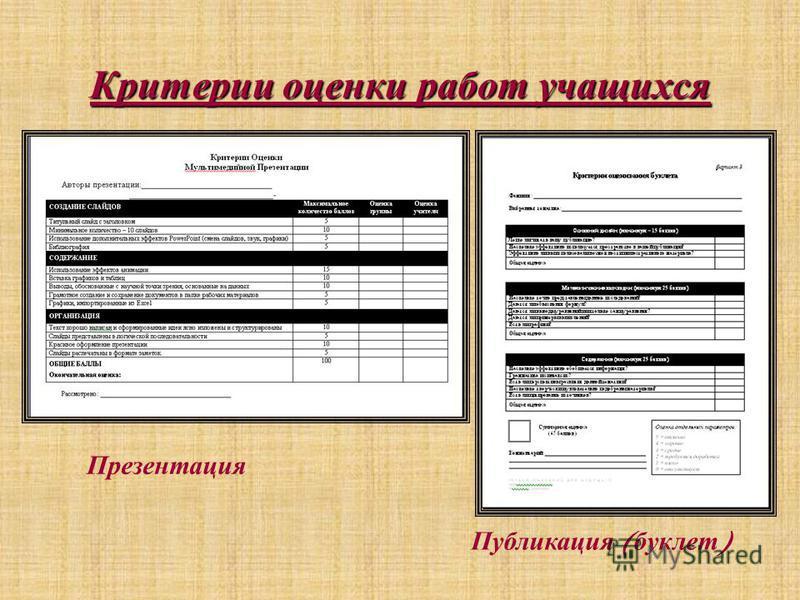 Критерии оценки работ учащихся Презентация Публикация ( буклет )