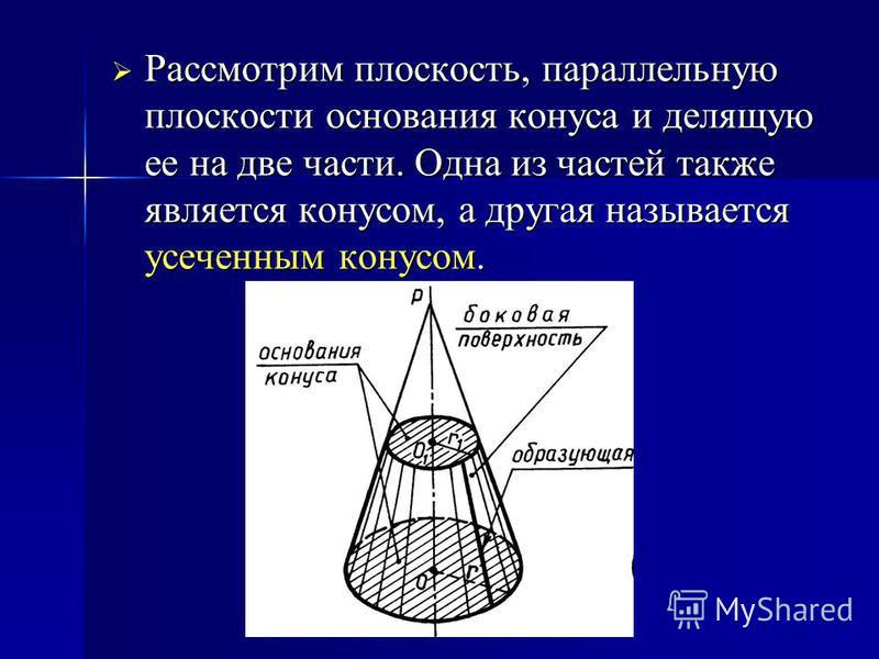 Рассмотрим плоскость, параллельную плоскости основания конуса и делящую ее на две части. Одна из частей также является конусом, а другая называется усеченным конусом. Рассмотрим плоскость, параллельную плоскости основания конуса и делящую ее на две ч