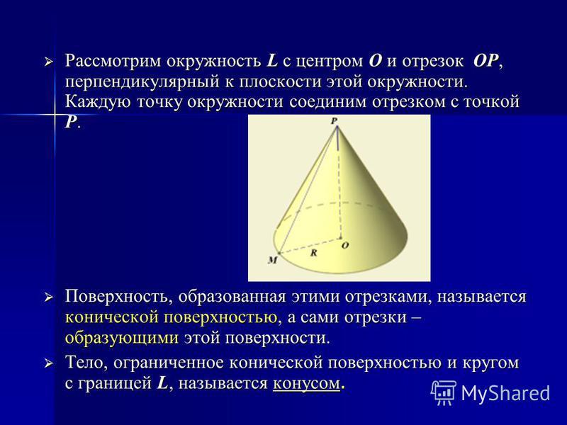 Рассмотрим окружность L с центром O и отрезок OP, перпендикулярный к плоскости этой окружности. Каждую точку окружности соединим отрезком с точкой P. Рассмотрим окружность L с центром O и отрезок OP, перпендикулярный к плоскости этой окружности. Кажд