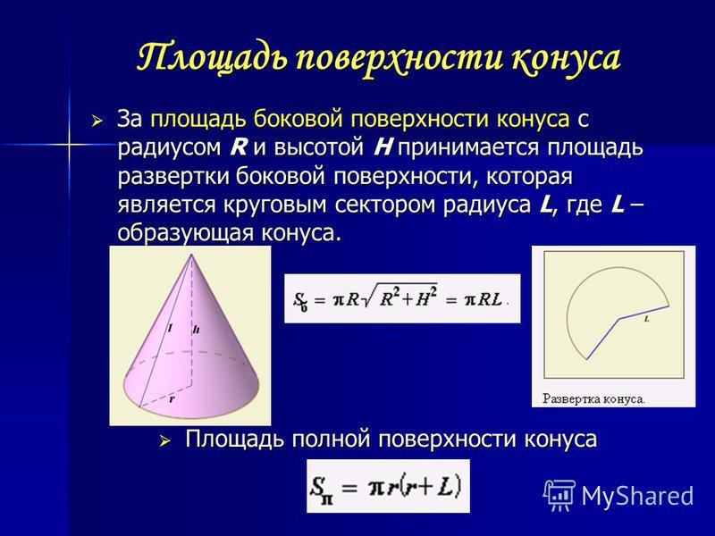 Площадь поверхности конуса За площадь боковой поверхности конуса с радиусом R и высотой H принимается площадь развертки боковой поверхности, которая является круговым сектором радиуса L, где L – образующая конуса. За площадь боковой поверхности конус