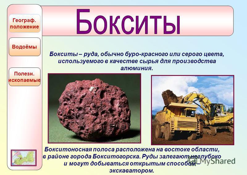 Полезн. ископаемые Водоёмы Географ. положение Бокситы – руда, обычно буро-красного или серого цвета, используемого в качестве сырья для производства алюминия. Бокситоносная полоса расположена на востоке области, в районе города Бокситогорска. Руды за