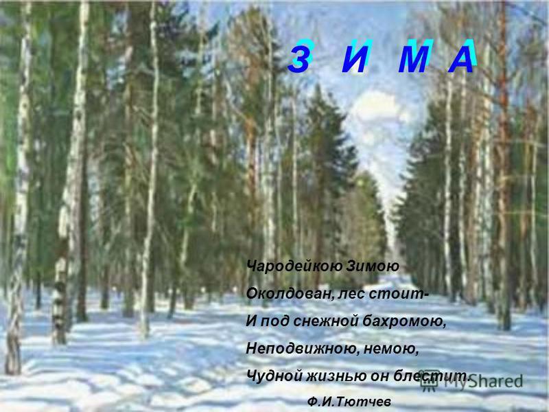 З И М А Чародейкою Зимою Околдован, лес стоит- И под снежной бахромою, Неподвижною, немою, Чудной жизнью он блестит. Ф.И.Тютчев