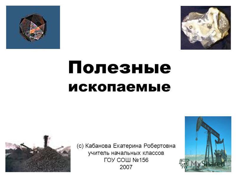 Полезные ископаемые (с) Кабанова Екатерина Робертовна учитель начальных классов ГОУ СОШ 156 2007