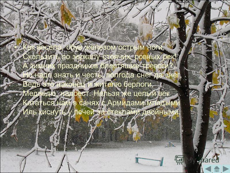 Как весело, обув железом острым ноги, Скользить по зеркалу стоячих, ровных рек! А зимних праздников блестящие тревоги?.. Но надо знать и честь; полгода снег да снег, Ведь это наконец и жителю берлоги, Медведю, надоест. Нельзя же целый век Кататься на