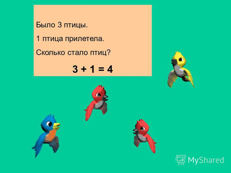 Было 3 птицы. 1 птица прилетела. Сколько стало птиц? 3 + 1 = 4