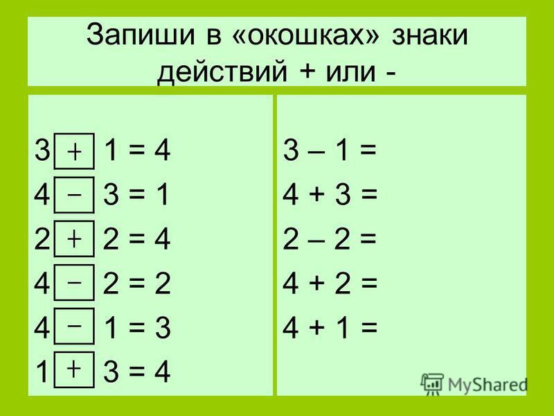 Запиши в «окошках» знаки действий + или - 3 1 = 4 4 3 = 1 2 2 = 4 4 2 = 2 4 1 = 3 1 3 = 4 3 – 1 = 4 + 3 = 2 – 2 = 4 + 2 = 4 + 1 =
