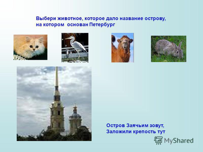 Выбери животное, которое дало название острову, на котором основан Петербург Остров Заячьим зовут, Заложили крепость тут
