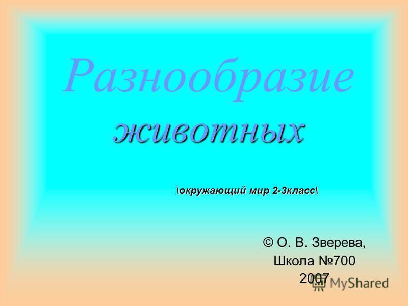 животных Разнообразие животных © О. В. Зверева, Школа 700 2007 \окружающий мир 2-3 класс\