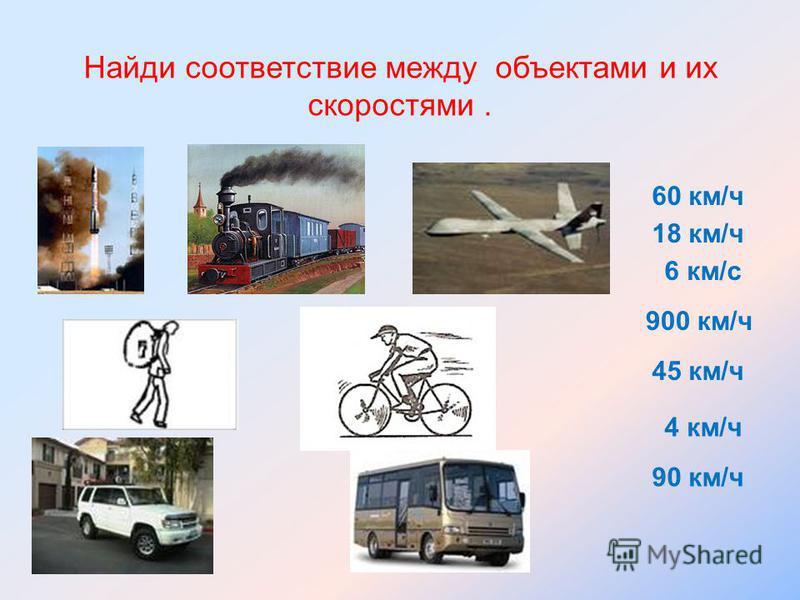 Найди соответствие между объектами и их скоростями. 60 км/ч 18 км/ч 4 км/ч 900 км/ч 6 км/с 45 км/ч 90 км/ч