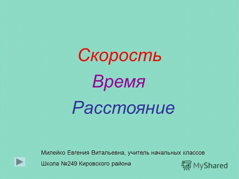 Расстояние Время Скорость Милейко Евгения Витальевна, учитель начальных классов Школа 249 Кировского района