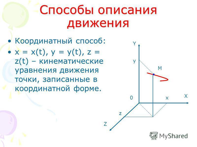 Способы описания движения Координатный способ: х = х(t), y = y(t), z = z(t) – кинематические уравнения движения точки, записанные в координатной форме. Z X Y M x z y 0