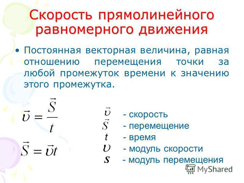 Скорость прямолинейного равномерного движения Постоянная векторная величина, равная отношению перемещения точки за любой промежуток времени к значению этого промежутка. - скорость - перемещение t - время - модуль скорости S - модуль перемещения