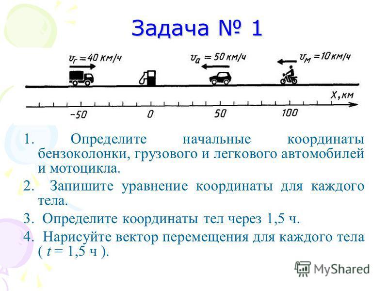 Задача 1 Задача 1 1. Определите начальные координаты бензоколонки, грузового и легкового автомобилей и мотоцикла. 2. Запишите уравнение координаты для каждого тела. 3. Определите координаты тел через 1,5 ч. 4. Нарисуйте вектор перемещения для каждого