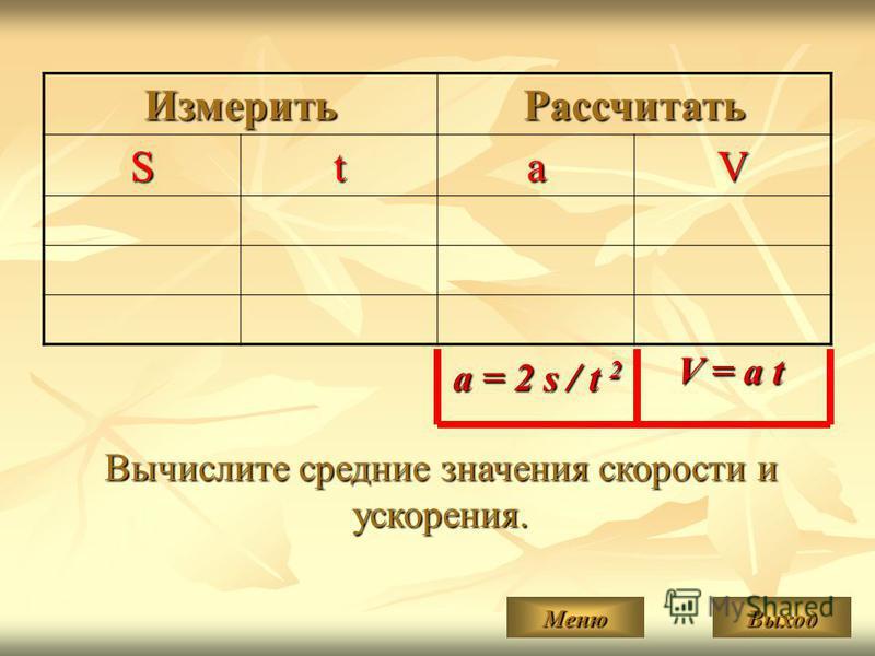 Измерить РассчитатьStaV a = 2 s / t 2 V = a t Вычислите средние значения скорости и ускорения. Меню Выход