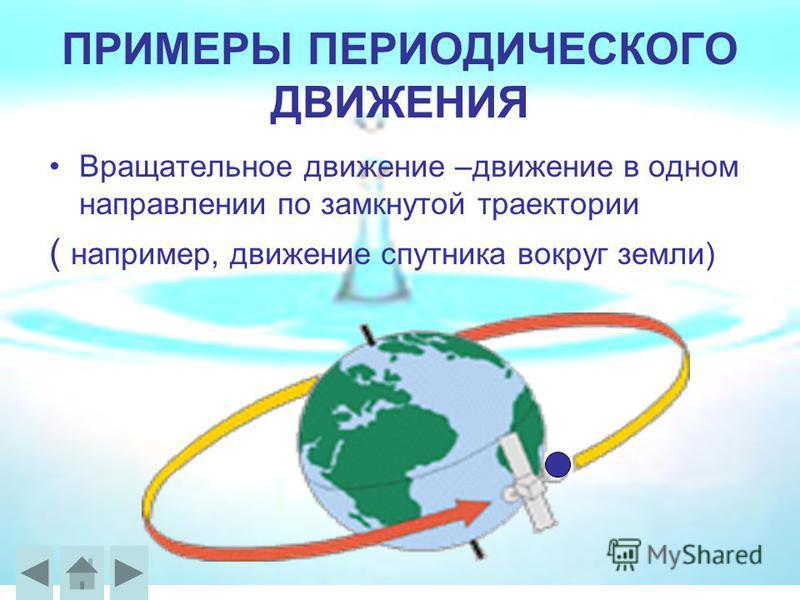 ПРИМЕРЫ ПЕРИОДИЧЕСКОГО ДВИЖЕНИЯ Вращательное движение –движение в одном направлении по замкнутой траектории ( например, движение спутника вокруг земли)