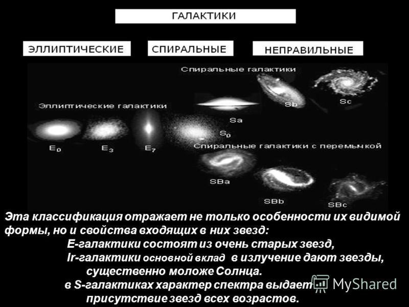 Эта классификация отражает не только особенности их видимой формы, но и свойства входящих в них звезд: Е-галактики состоят из очень старых звезд, Ir-галактики основной вклад в излучение дают звезды, существенно моложе Солнца. в S-галактиках характер