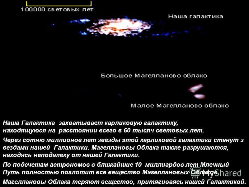 Наша Галактика захватывает карликовую галактику, находящуюся на расстоянии всего в 60 тысяч световых лет. Через сотню миллионов лет звезды этой карликовой галактики станут з вездами нашей Галактики. Магеллановы Облака также разрушаются, находясь непо