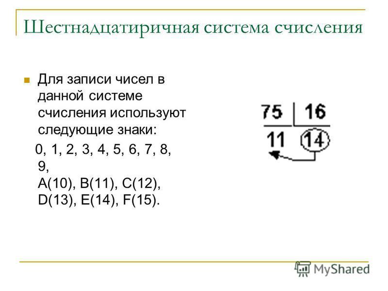 Шестнадцатиричная система счисления Для записи чисел в данной системе счисления используют следующие знаки: 0, 1, 2, 3, 4, 5, 6, 7, 8, 9, A(10), B(11), C(12), D(13), E(14), F(15).