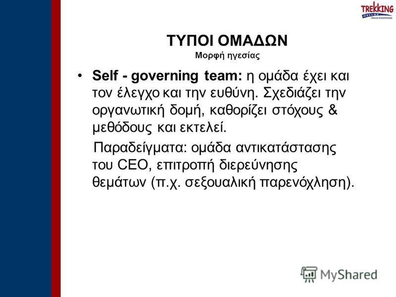 Self - governing team: η ομάδα έχει και τον έλεγχο και την ευθύνη. Σχεδιάζει την οργανωτική δομή, καθορίζει στόχους & μεθόδους και εκτελεί. Παραδείγματα: ομάδα αντικατάστασης του CEO, επιτροπή διερεύνησης θεμάτων (π.χ. σεξουαλική παρενόχληση). ΤΥΠΟΙ
