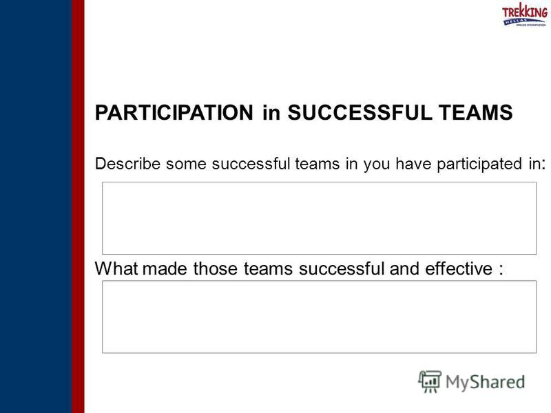 PARTICIPATION in SUCCESSFUL TEAMS Describe some successful teams in you have participated in : What made those teams successful and effective :