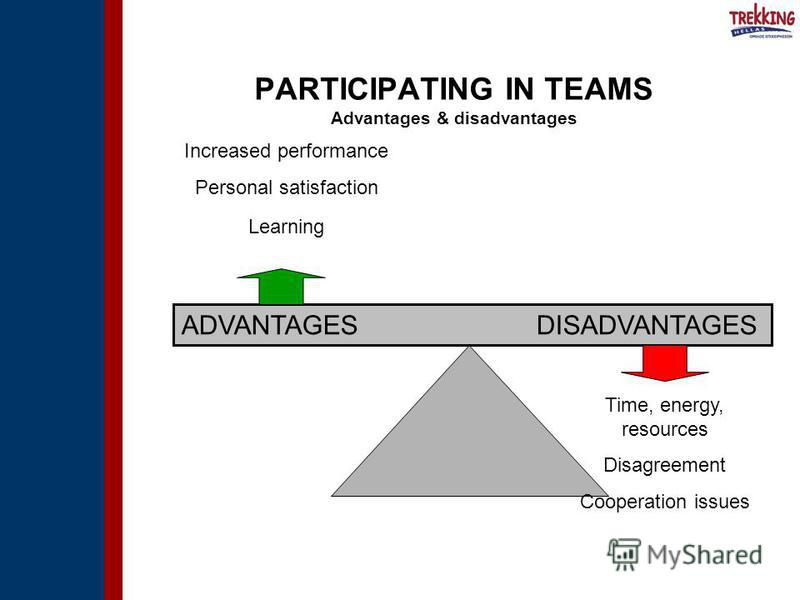 ADVANTAGES DISADVANTAGES Increased performance Personal satisfaction Learning Time, energy, resources Disagreement Cooperation issues PARTICIPATING IN TEAMS Advantages & disadvantages