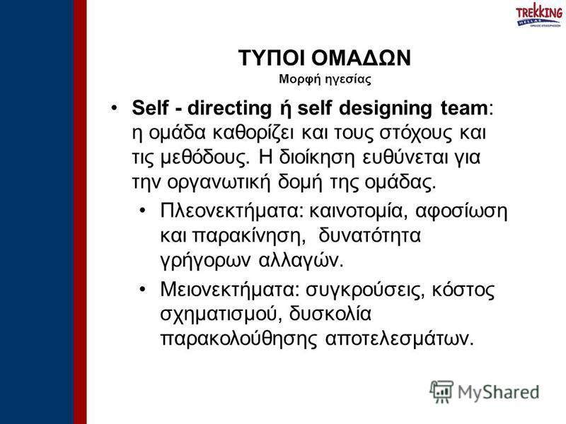 Self - directing ή self designing team: η ομάδα καθορίζει και τους στόχους και τις μεθόδους. Η διοίκηση ευθύνεται για την οργανωτική δομή της ομάδας. Πλεονεκτήματα: καινοτομία, αφοσίωση και παρακίνηση, δυνατότητα γρήγορων αλλαγών. Μειονεκτήματα: συγκ