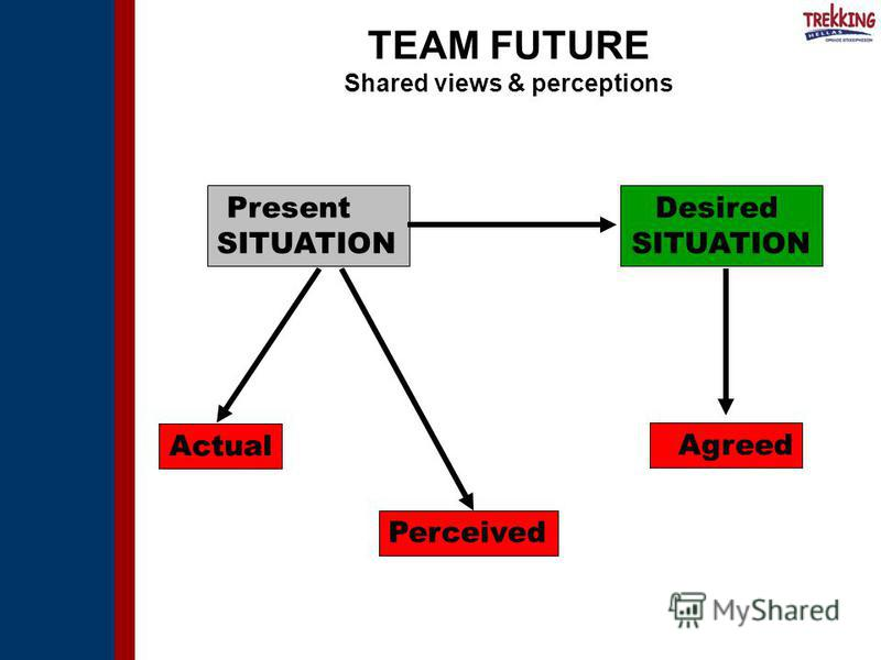 Present SITUATION Actual Perceived Desired SITUATION Agreed TEAM FUTURE Shared views & perceptions