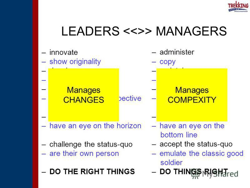 LEADERS > MANAGERS –innovate –show originality –develop –focus on people –inspire trust –have long-term perspective –ask what and why –have an eye on the horizon –challenge the status-quo –are their own person –DO THE RIGHT THINGS –administer –copy –