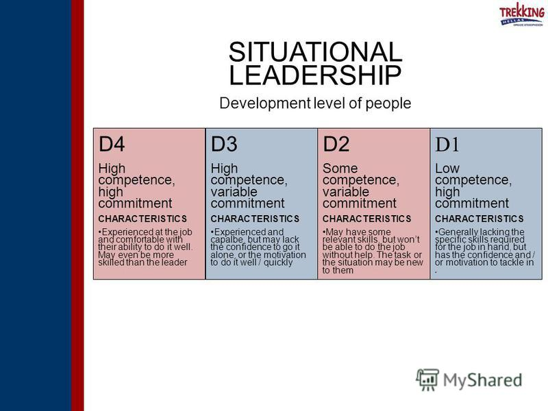 D4 High competence, high commitment CHARACTERISTICS Experienced at the job and comfortable with their ability to do it well. May even be more skilled than the leader D1 Low competence, high commitment CHARACTERISTICS Generally lacking the specific sk