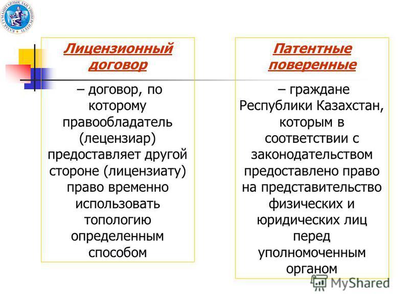 Лицензионный договор – договор, по которому правообладатель (лицензиар) предоставляет другой стороне (лицензиату) право временно использовать топологию определенным способом Патентные поверенные – граждане Республики Казахстан, которым в соответствии