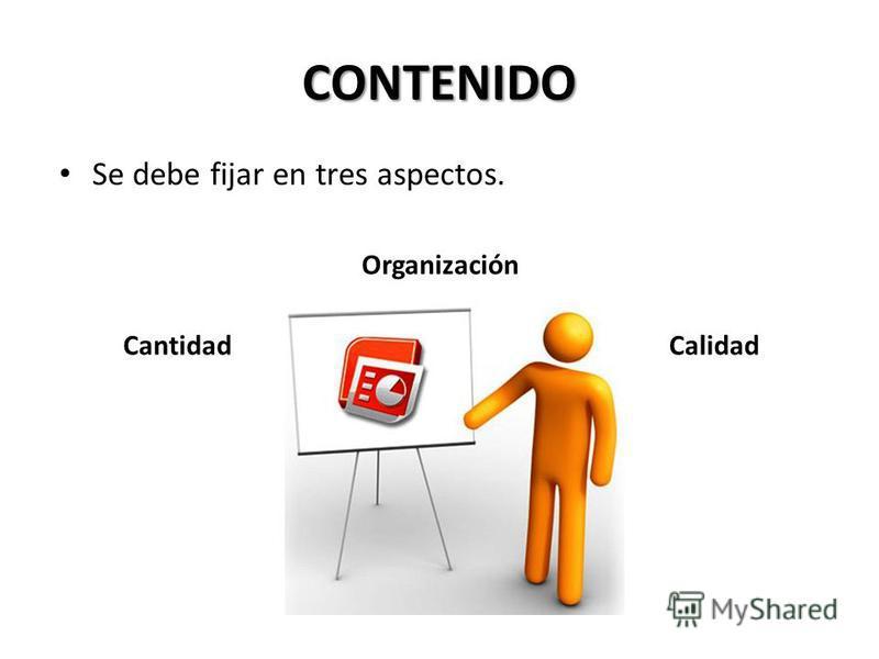 ASPECTOS A CONSIDERAR PARA UN PRESENTACIÓN O POWER POINT Contenido Diseño Presentación Evaluación