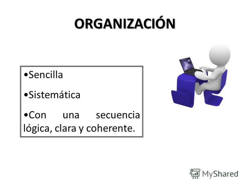 CONTENIDO Se debe fijar en tres aspectos. Organización CantidadCalidad