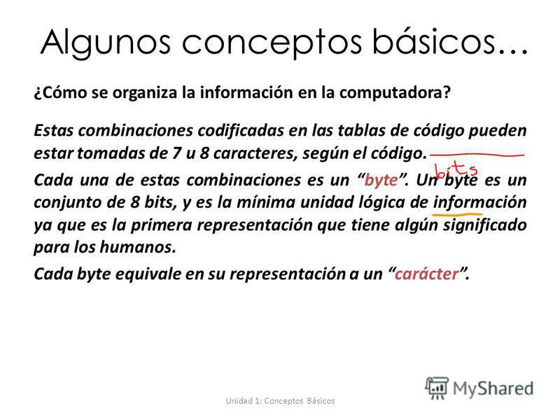Unidad 1: Conceptos Básicos Algunos conceptos básicos… ¿Cómo se organiza la información en la computadora? Estas combinaciones codificadas en las tablas de código pueden estar tomadas de 7 u 8 caracteres, según el código. Cada una de estas combinacio
