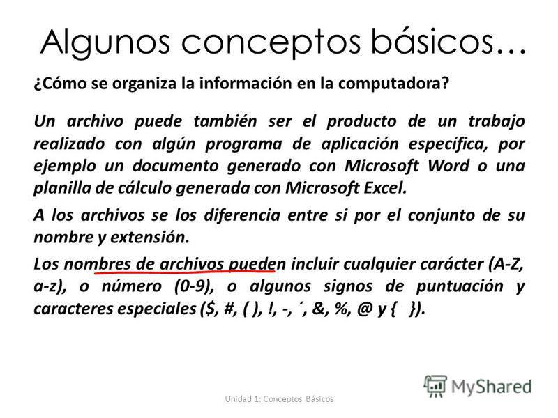 Unidad 1: Conceptos Básicos Algunos conceptos básicos… ¿Cómo se organiza la información en la computadora? Un archivo puede también ser el producto de un trabajo realizado con algún programa de aplicación específica, por ejemplo un documento generado