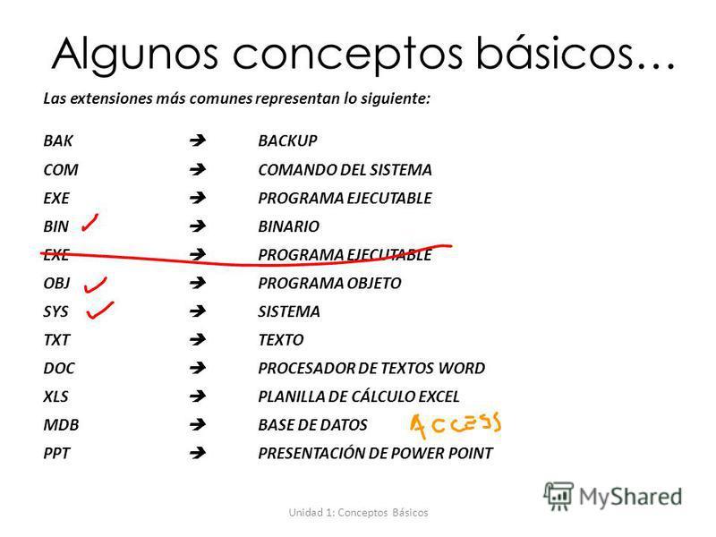 Unidad 1: Conceptos Básicos Algunos conceptos básicos… Las extensiones más comunes representan lo siguiente: BAK BACKUP COM COMANDO DEL SISTEMA EXE PROGRAMA EJECUTABLE BIN BINARIO EXE PROGRAMA EJECUTABLE OBJ PROGRAMA OBJETO SYS SISTEMA TXT TEXTO DOC