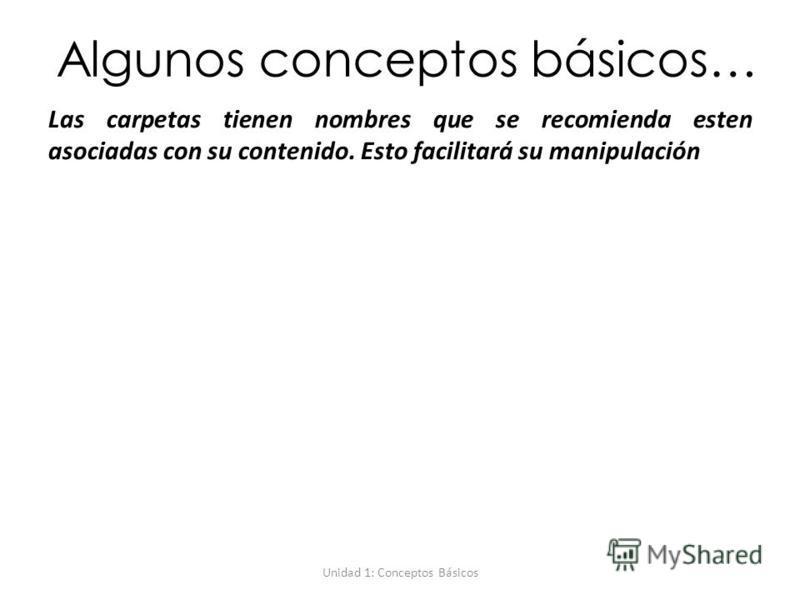Unidad 1: Conceptos Básicos Algunos conceptos básicos… Las carpetas tienen nombres que se recomienda esten asociadas con su contenido. Esto facilitará su manipulación
