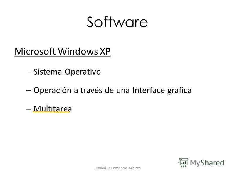 Unidad 1: Conceptos Básicos Software Microsoft Windows XP – Sistema Operativo – Operación a través de una Interface gráfica – Multitarea