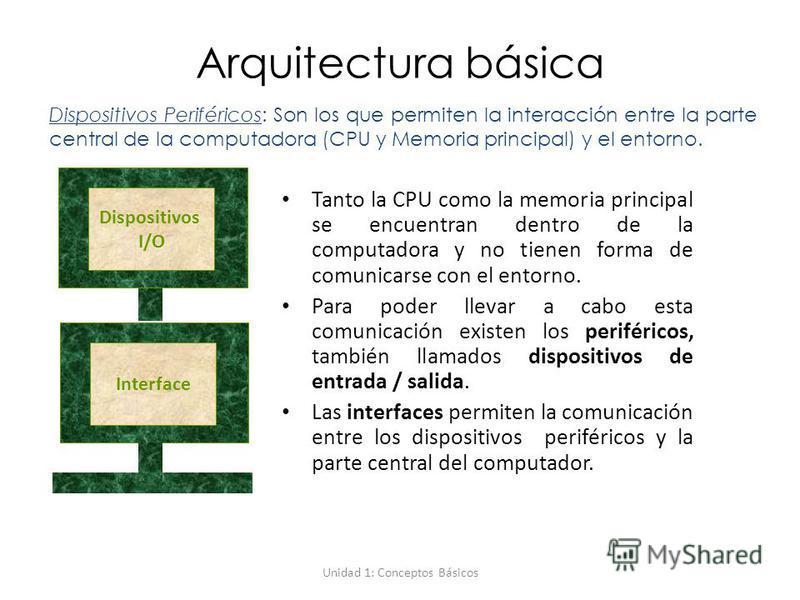Unidad 1: Conceptos Básicos Arquitectura básica Tanto la CPU como la memoria principal se encuentran dentro de la computadora y no tienen forma de comunicarse con el entorno. Para poder llevar a cabo esta comunicación existen los periféricos, también