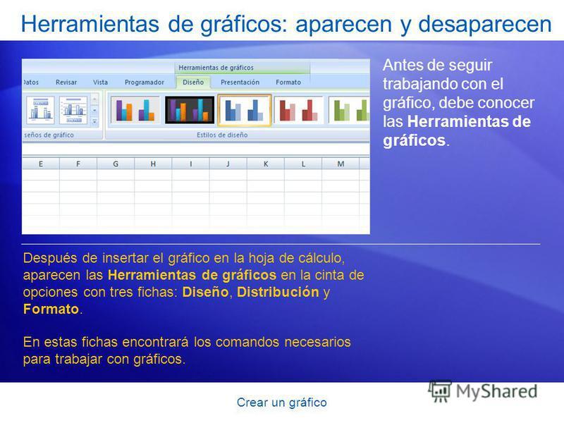 Crear un gráfico Herramientas de gráficos: aparecen y desaparecen Antes de seguir trabajando con el gráfico, debe conocer las Herramientas de gráficos. Después de insertar el gráfico en la hoja de cálculo, aparecen las Herramientas de gráficos en la