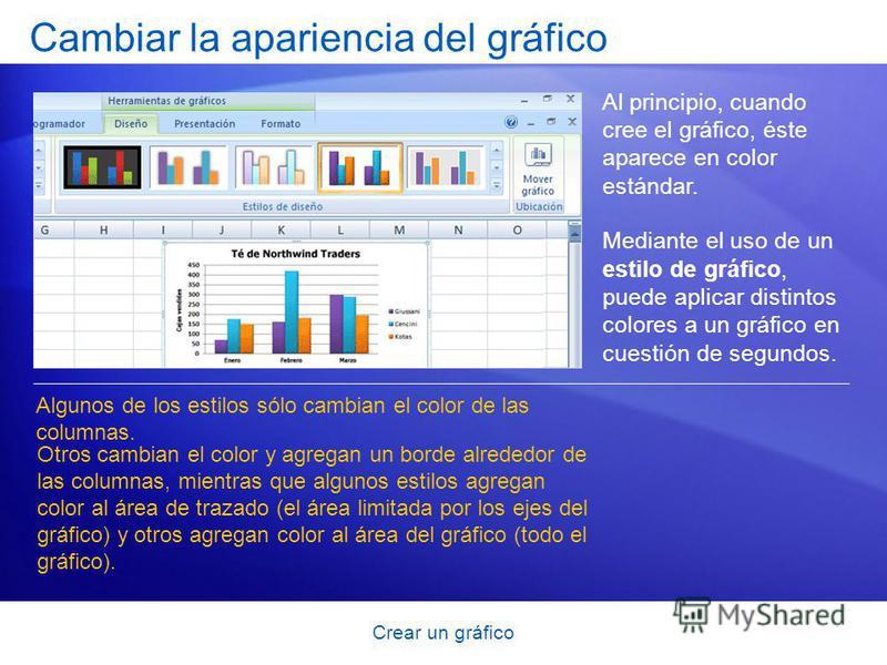 Crear un gráfico Cambiar la apariencia del gráfico Al principio, cuando cree el gráfico, éste aparece en color estándar. Mediante el uso de un estilo de gráfico, puede aplicar distintos colores a un gráfico en cuestión de segundos. Algunos de los est
