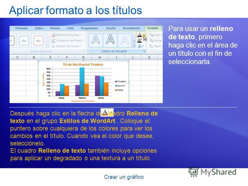 Crear un gráfico Aplicar formato a los títulos Para usar un relleno de texto, primero haga clic en el área de un título con el fin de seleccionarla. Después haga clic en la flecha del cuadro Relleno de texto en el grupo Estilos de WordArt. Coloque el