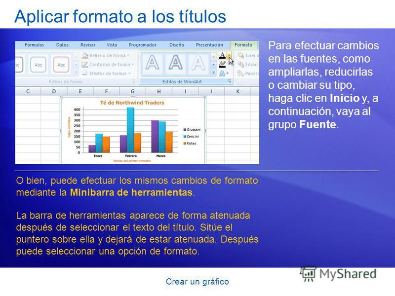 Crear un gráfico Aplicar formato a los títulos Para efectuar cambios en las fuentes, como ampliarlas, reducirlas o cambiar su tipo, haga clic en Inicio y, a continuación, vaya al grupo Fuente. O bien, puede efectuar los mismos cambios de formato medi