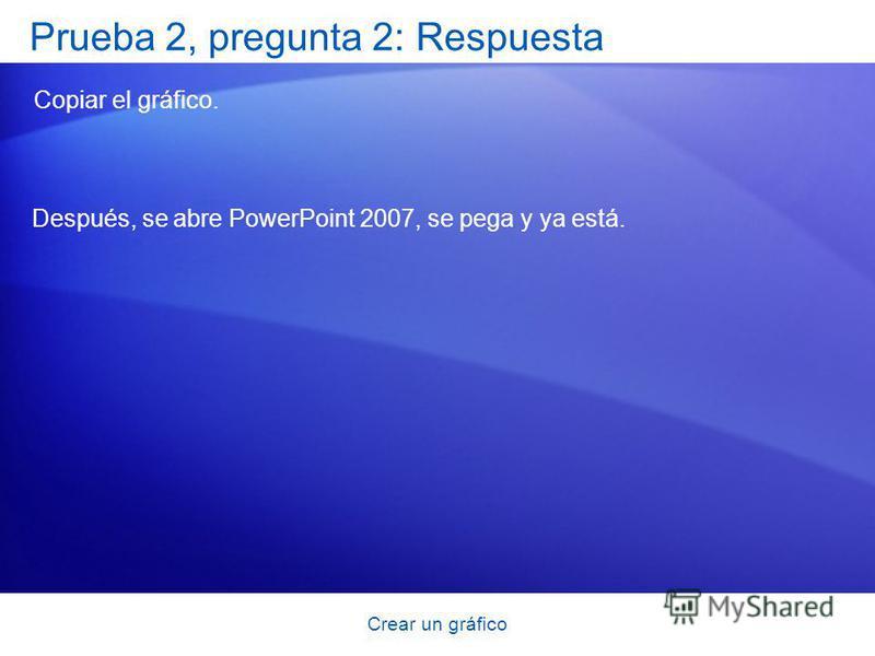 Crear un gráfico Prueba 2, pregunta 2: Respuesta Copiar el gráfico. Después, se abre PowerPoint 2007, se pega y ya está.