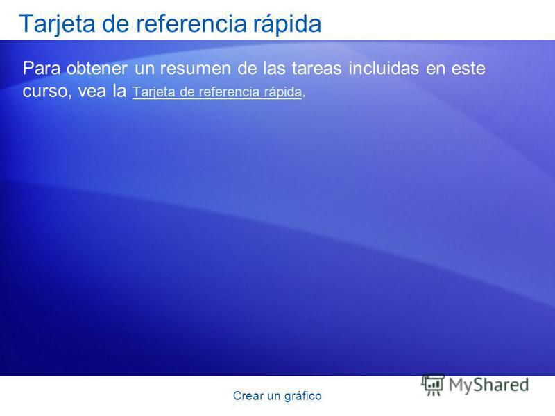 Crear un gráfico Tarjeta de referencia rápida Para obtener un resumen de las tareas incluidas en este curso, vea la Tarjeta de referencia rápida. Tarjeta de referencia rápida