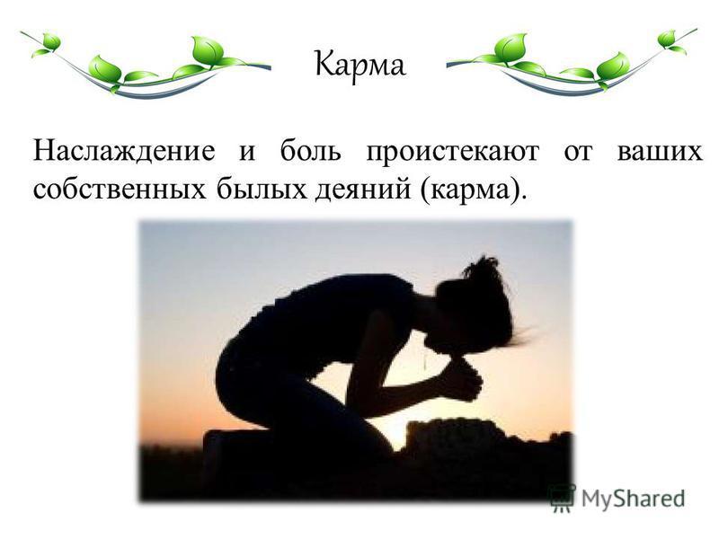 Карма Наслаждение и боль проистекают от ваших собственных былых деяний (карма).