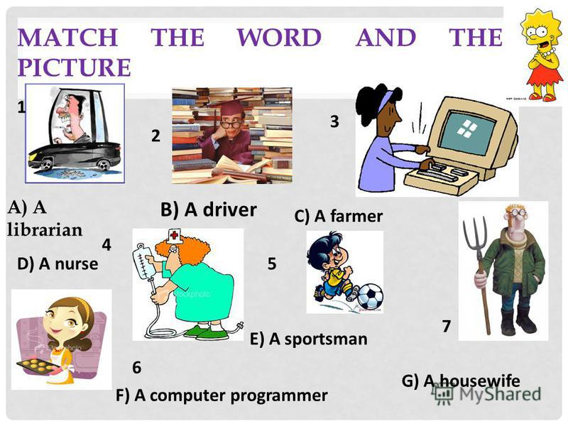MATCH THE WORD AND THE PICTURE A) A librarian В) A driver E) A sportsman С) A farmer F) A computer programmer D) A nurse G) A housewife 1 2 3 4 5 6 7