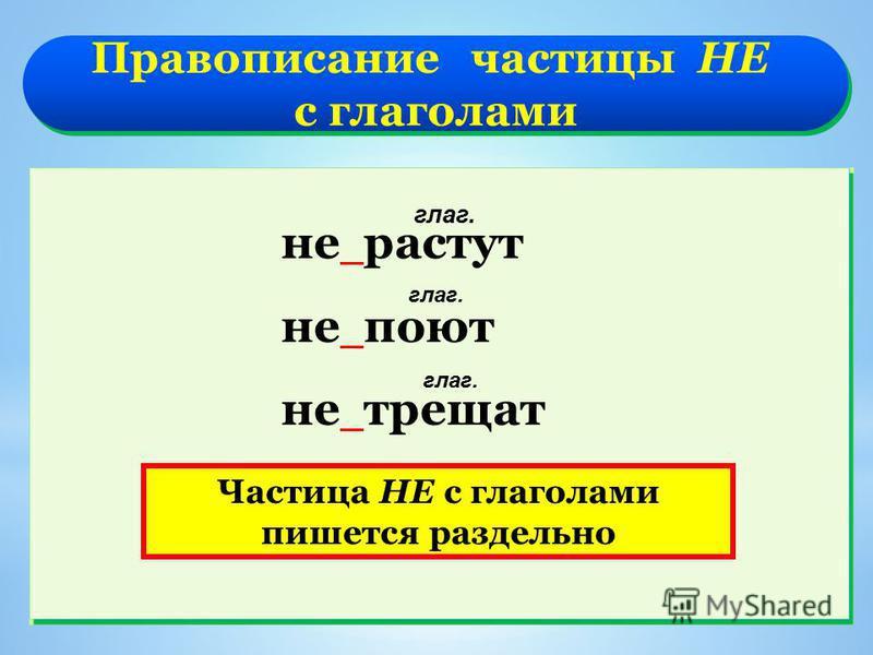 Правописание частицы НЕ с глаголами Правописание частицы НЕ с глаголами не растут не поют не трещат глаг. Частица НЕ с глаголами пишется раздельно