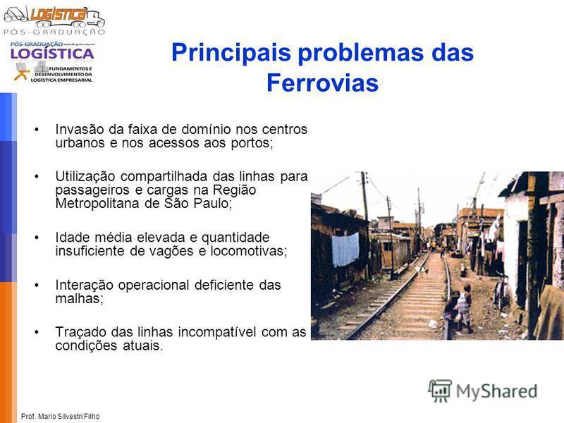 Prof. Mario Silvestri Filho Principais problemas das Ferrovias Invasão da faixa de domínio nos centros urbanos e nos acessos aos portos; Utilização compartilhada das linhas para passageiros e cargas na Região Metropolitana de São Paulo; Idade média e