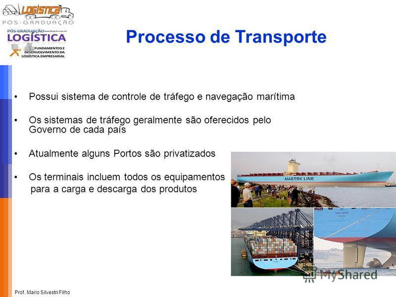 Prof. Mario Silvestri Filho Processo de Transporte Possui sistema de controle de tráfego e navegação marítima Os sistemas de tráfego geralmente são oferecidos pelo Governo de cada país Atualmente alguns Portos são privatizados Os terminais incluem to